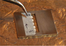 An example photograph of five thin enamel slabs mounted on a metal sample holder. All slabs were aligned within the window with the enamel edge made as horizontal as possible for the impinging perpendicular X-ray beam.