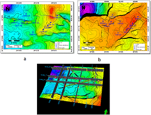 (a) Alam El Bueib-3C (AEB-3C) depth structure map, (b) Upper Safa (USAFA) depth structure map