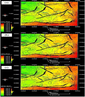 Depth Structure maps (a) AEB-1 horizon, (a) AEB-3A horizon, and (c) AEB-3D horizon.