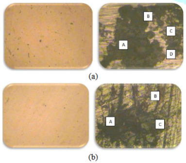 Corroded surfaces of (a) 410-MN: 1.8 420 - MN: 2.8 (stainless steel) in Murban and (b) carbon steel (mild steel) in Das Blend.