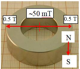 The used magnet and the magnetic field strength change across the radial distribution.
