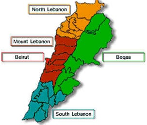 Map of Lebanon showing the various districts (mohafazats or governorates)