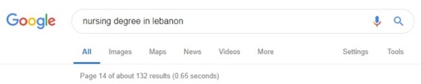 """132 individual website links which we visited through Google search for """"nursing degree in Lebanon"""""""