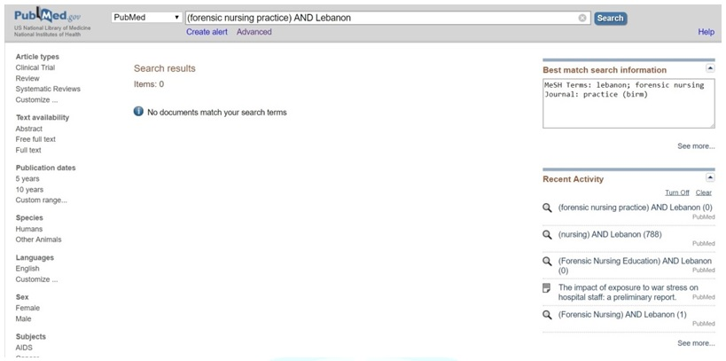 """Results for the PubMed and Medline searches for """"Forensic Nursing practice"""" AND """"Lebanon"""