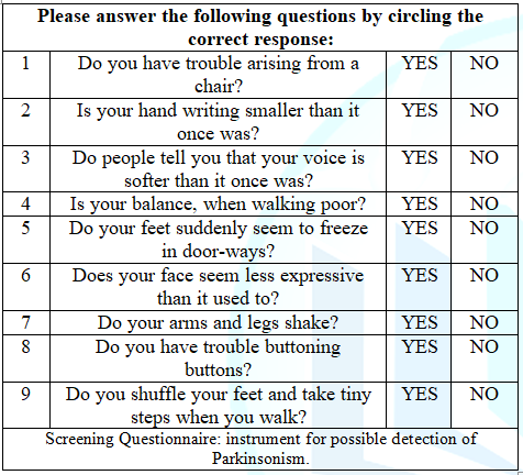 Tanner Questionnaire: Screening Questionnaire.