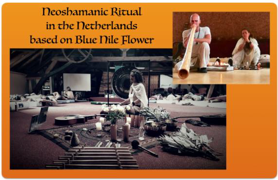 A Blue Nile Flower ritual in the Netherlands: various shamanistic elements can be identified, such as shamanic instruments and leave-rattlers.