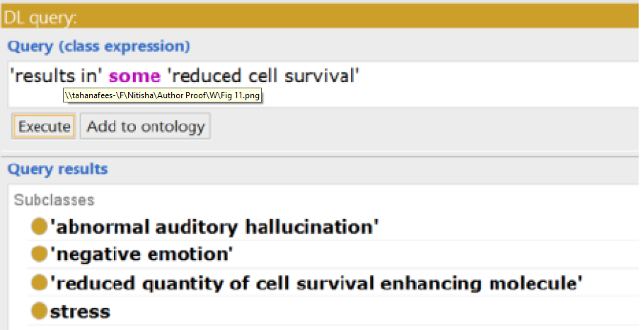 Screenshot from Protégé 5.0.0 over an application ontology to answer the question Which entities result in reduced cell survival?